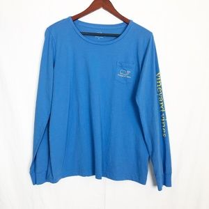 Vineyard Vine Blue & Yellow Whale Long Sleeve Lrg